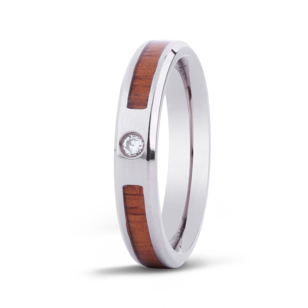Koa Stone w/ Diamond Titanium Ring - Ladies