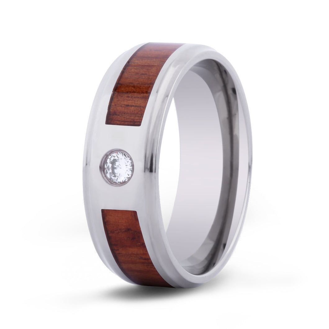 Hawaiian Koa Stone w/ Diamond Titanium Ring - Men's