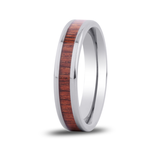 Koa Wooden Ring Hawaii Titanium Thin