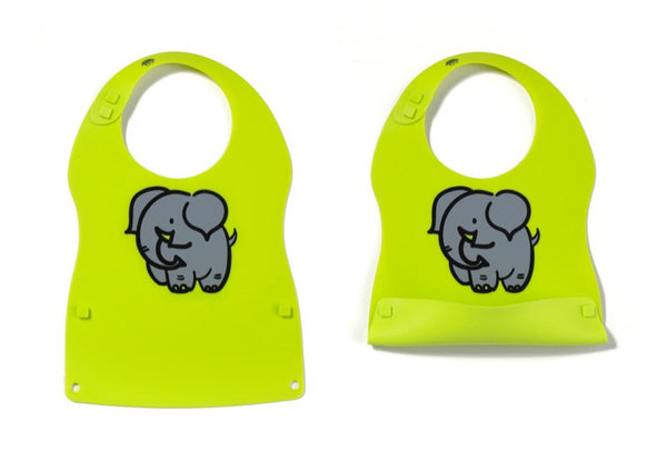Kinderville - Little Bites Silicone Bib - 1 pc green with elephant print