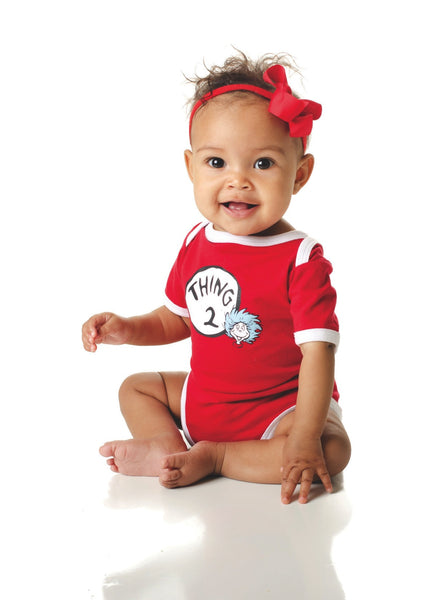 Dr. Seuss Short Sleeve Graphic Bodysuit - Thing 2