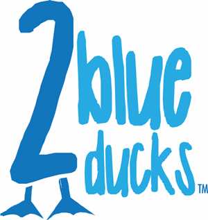 2 blue ducks