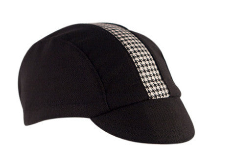 Wool Cycling Cap - Black with Houndstooth - Synaptic Cycles Shop