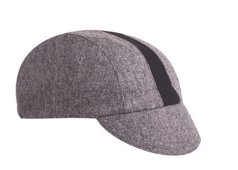 Wool Cycling Cap - Grey with Black Stripe - Synaptic Cycles Shop
