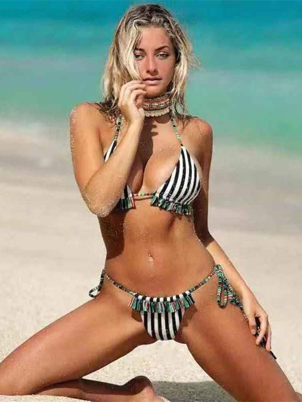 instylestreet.com Bikini Black and white stripes / S Polka Dot Striped Tassel Bikini