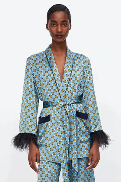 instylestreet.com Blazers Blue / S Blue Casual Print Suit Coat