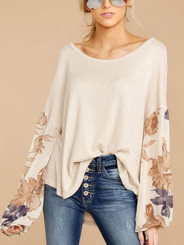instylestreet.com Blouses Apricot / S Intellect Of Vogue Bat sleeve Adorable Tops