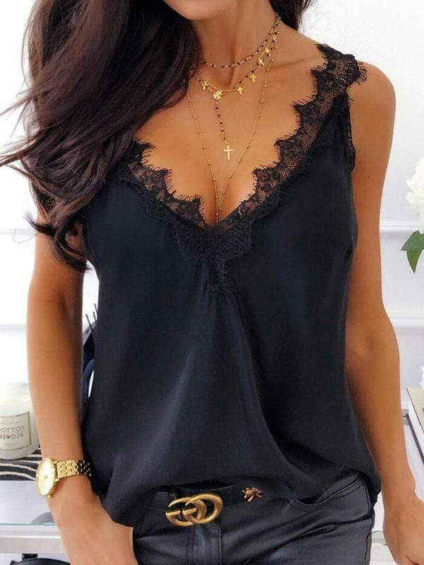 instylestreet.com Blouses Black / S V-neck Solid Lace Splicing Tanks