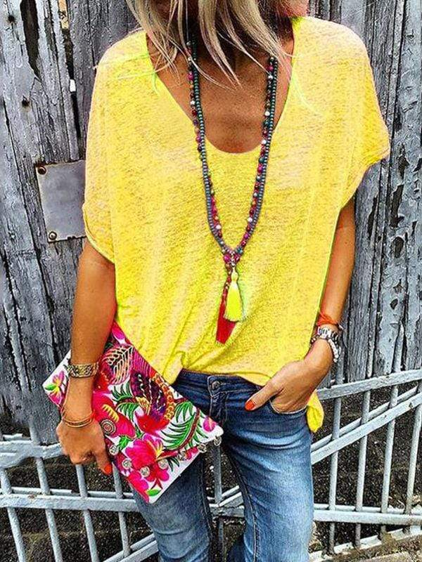 instylestreet.com Blouses Yellow / S Loose Fit Fluorescent T-shirts