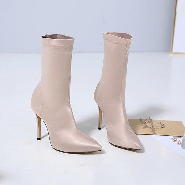 instylestreet.com Boots Apricot / 35 Satin Pointed Toe High-heeled Boots