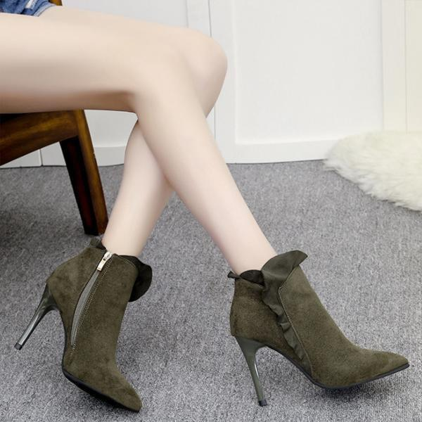 instylestreet.com Boots Army green / 35 High-heeled Side Zipper Boots