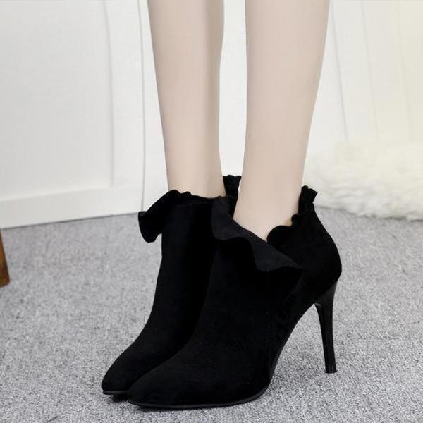 instylestreet.com Boots Black / 35 High-heeled Side Zipper Boots