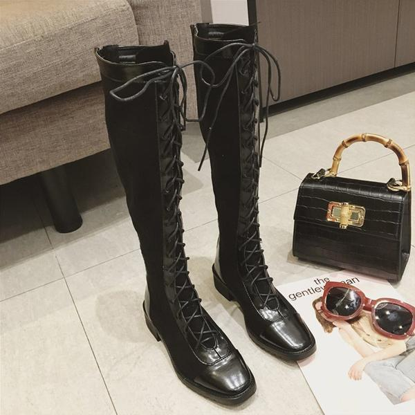 instylestreet.com Boots Black / 35 Low Heel Zipper Strap Knee High Boots
