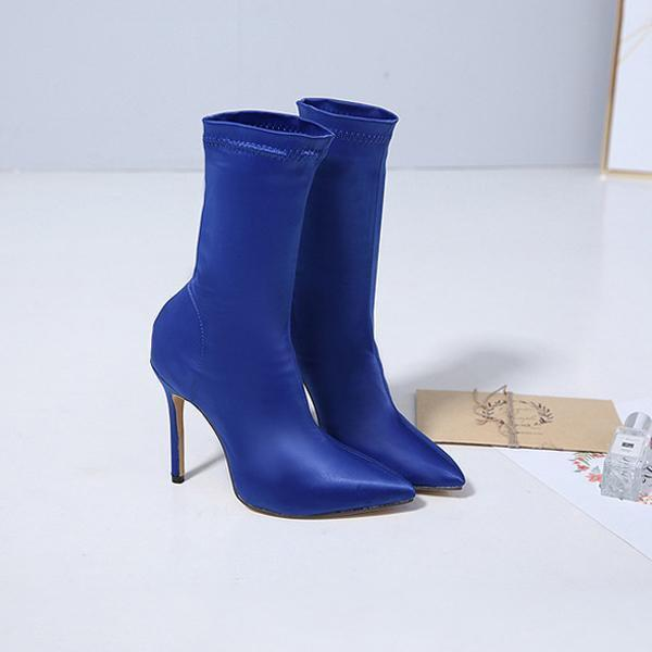 instylestreet.com Boots Blue / 35 Satin Pointed Toe High-heeled Boots