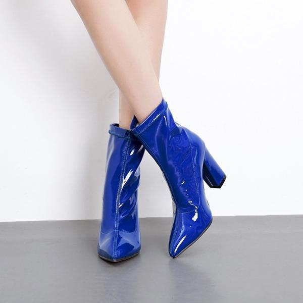 instylestreet.com Boots Blue / 35 Women's High-heeled Patent Leather Boots