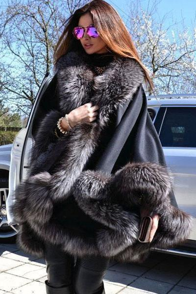instylestreet.com Coats Black / One Size Oversize Cashmere Fantastic Faux Fur Poncho