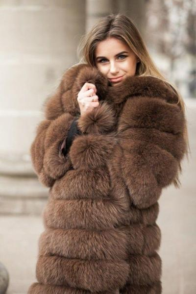 instylestreet.com Coats S Brown Warm Fur Coat