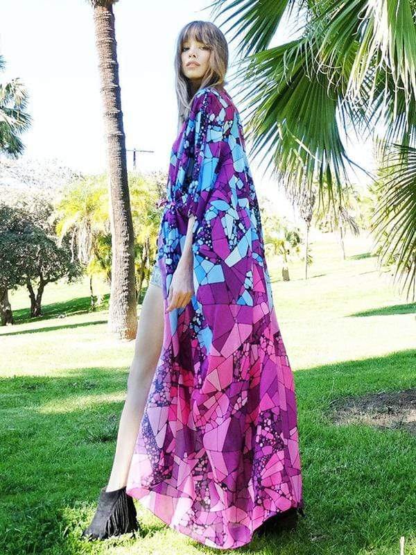 instylestreet.com Cover-Ups Purple / One Size Chiffon printed long cardigan beach sunscreen dress