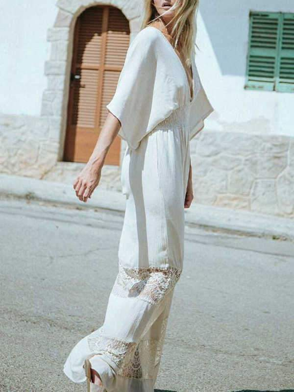 instylestreet.com Cover-Ups White / One Size Synthetic cotton lace stitching blouse beach dress