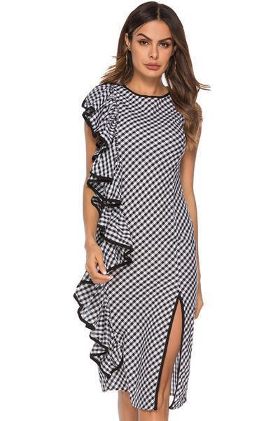 instylestreet.com Dress black and white grid / S Ruffled Irregular Plaid Dress