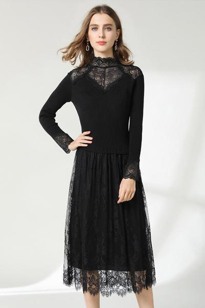 instylestreet.com Dress Black / One Size Knit Lace Stitching Dress