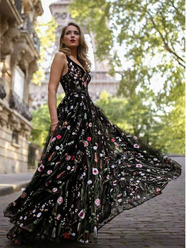 instylestreet.com Dress Black / S Deep V lace embroidered dress maxi skirt