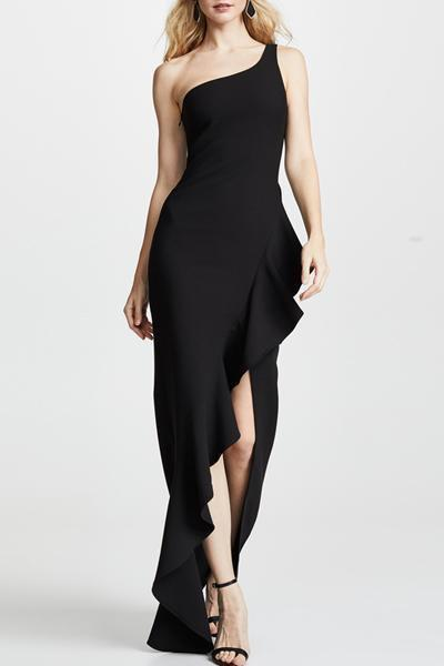 instylestreet.com Dress Black / S Irregular Ruffled One-Shoulder Long Dress