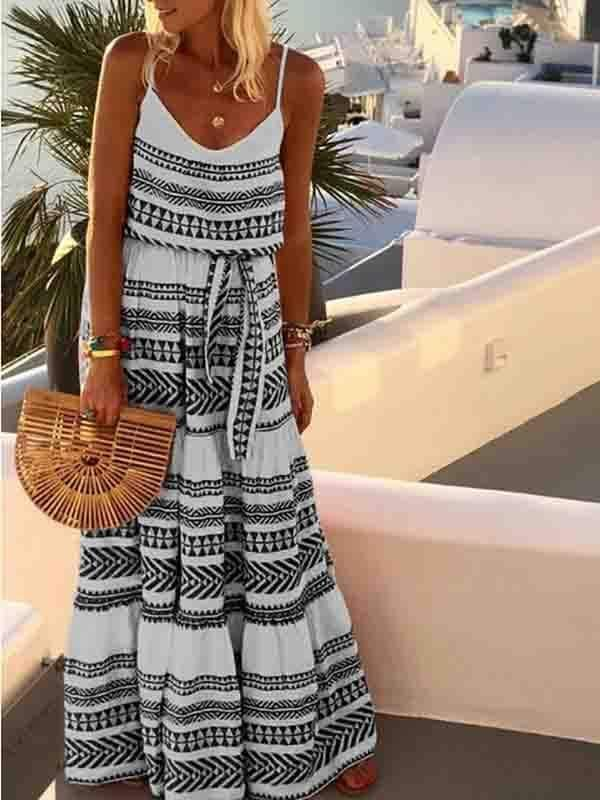 instylestreet.com dress Blue / S Bohemian V-neck printed sling beach dress