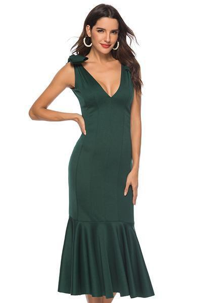instylestreet.com Dress Green / S Plu Size Sexy Deep V-neck Dress