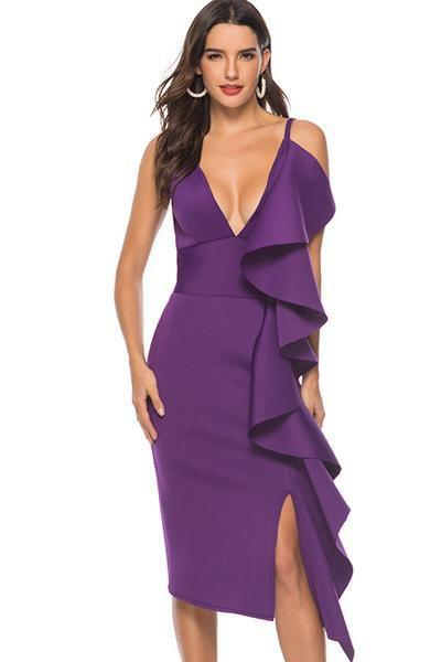 instylestreet.com Dress Purple / S Sling Deep V Ruffle Dress