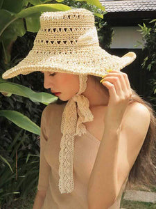 instylestreet.com hat Beige Foldable beach straw hat