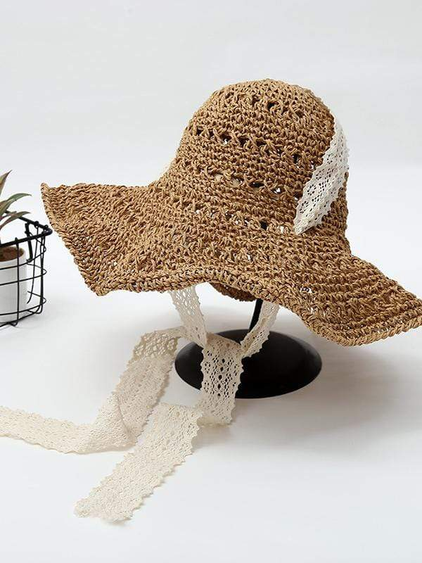 instylestreet.com hat Khaki Foldable beach straw hat