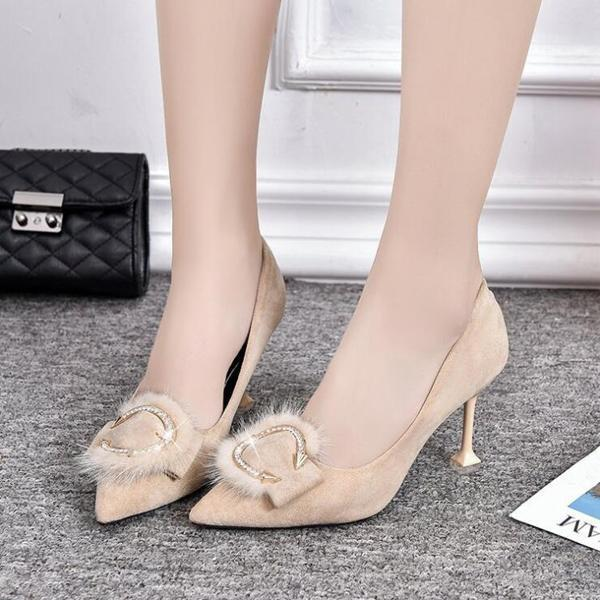 instylestreet.com High Heels Apricot / 34 Arrow Shape High Heel Shoes