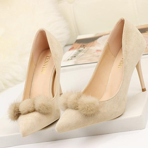instylestreet.com High Heels Apricot / 34 Fur Ball High Heel