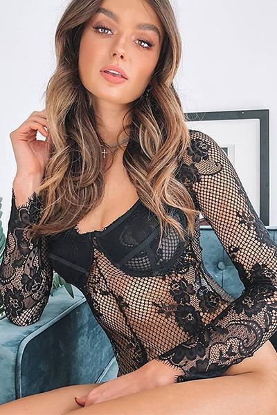 instylestreet.com Lingeries Black / S Long Sleeve Sheer Lace Bodysuit
