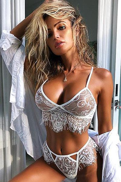 instylestreet.com Lingeries White / S Eyelash Lace Bra And Panties Set