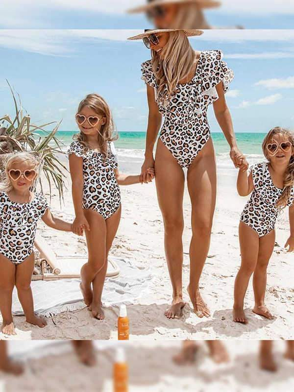 instylestreet.com Mommy And Me Leopard print / S Leopard print ruffled one-piece swimsuit