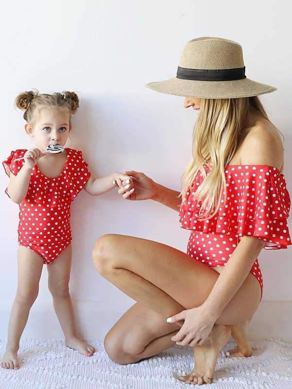 instylestreet.com Mommy And Me Red / S Polka dot ruffled parent-child swimsuit