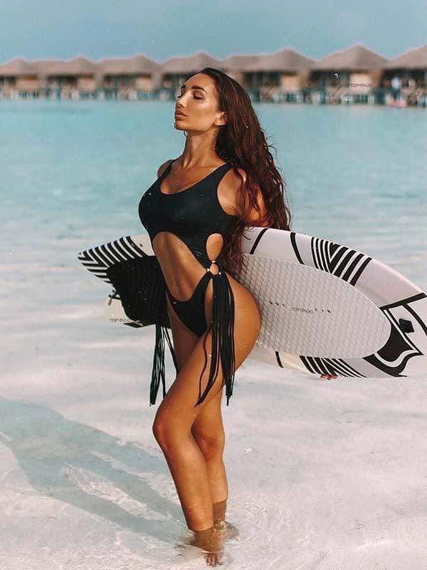 instylestreet.com one-piece Black / S Hollow steel ring tassel one-piece bikini