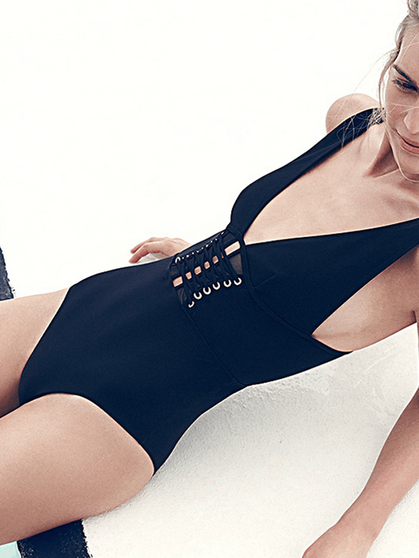instylestreet.com one-piece Black / S Solid color one-piece swimsuit