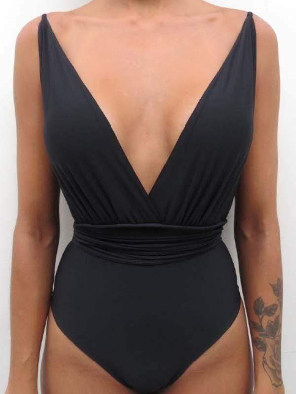 instylestreet.com one-piece Black / S Wear a solid color one-piece swimsuit