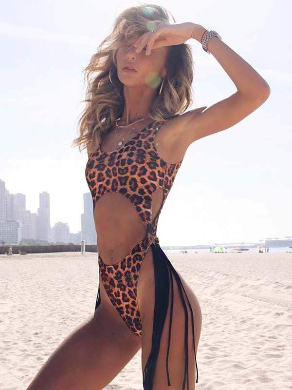 instylestreet.com one-piece Leopard print / S Hollow steel ring tassel one-piece bikini
