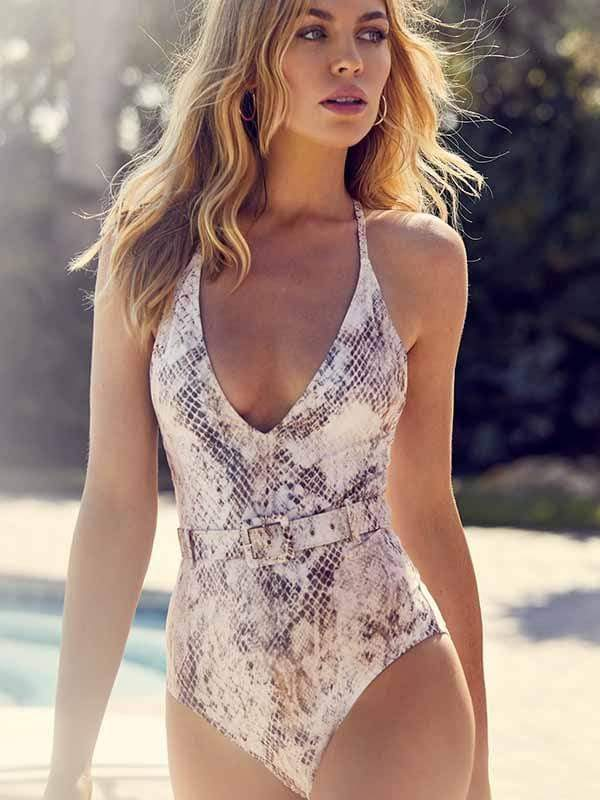 instylestreet.com one-piece Snake print / S Serpentine belt buckle one-piece swimsuit