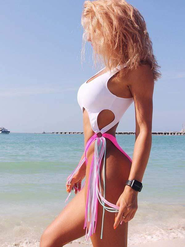instylestreet.com one-piece White / S Hollow steel ring tassel one-piece bikini