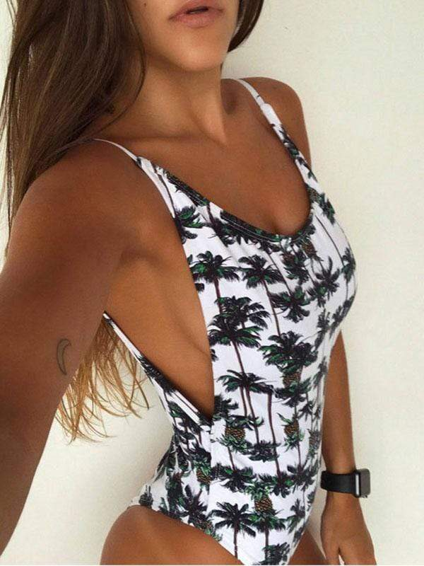 instylestreet.com one-piece White / S Open back printed one-piece swimsuit