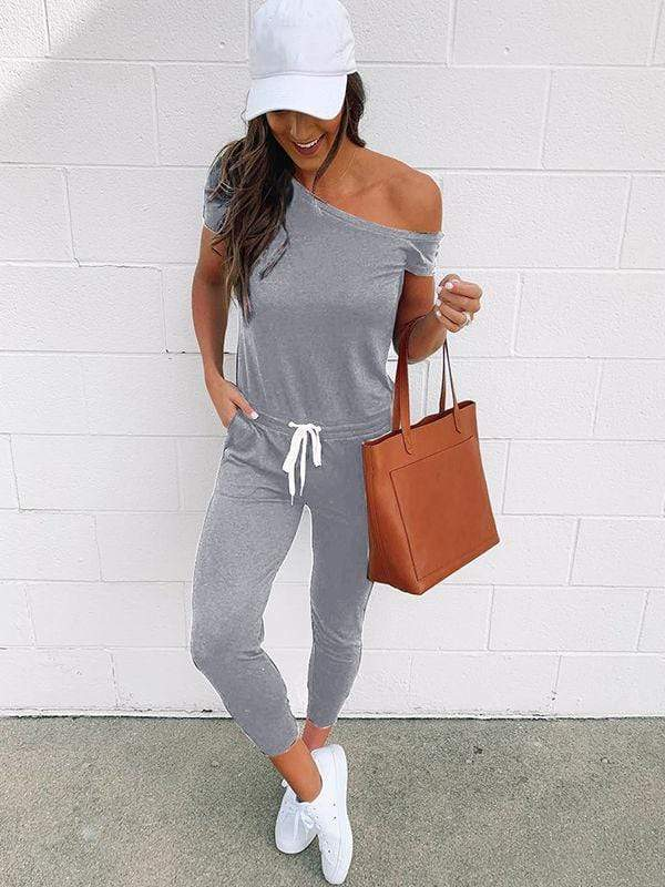 instylestreet.com Pants Black / S Cold Shoulder Jumpisuit With Pocketed