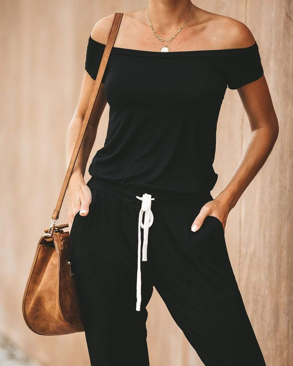 instylestreet.com Pants Black / S Drawstring Boat Neck Jumpsuit With Pocketed