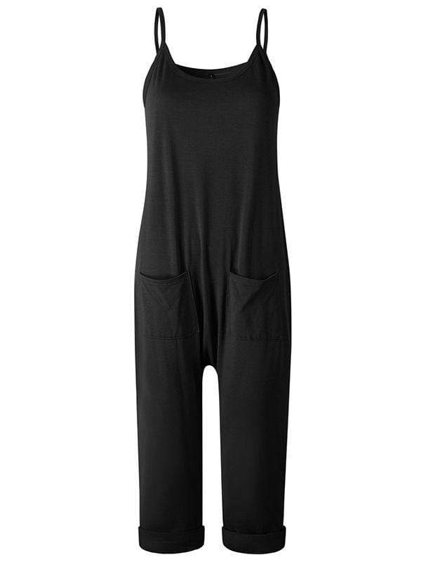 instylestreet.com Pants Black / S Sling Strapless Back Jumpisuits With Pocketed