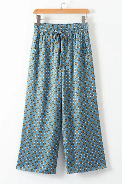 instylestreet.com Pants Blue / S Blue Casual Print Suit Pants