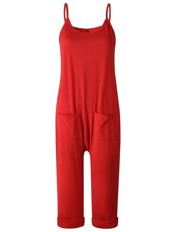 instylestreet.com Pants Red / S Sling Strapless Back Jumpisuits With Pocketed